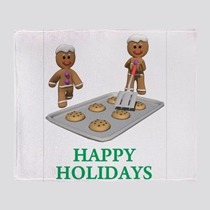 HAPPY HOLIDAYS - GINGERBREAD MEN Throw Blanket